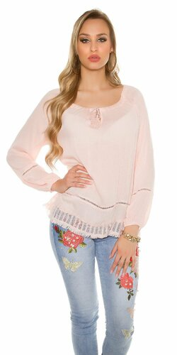 Štýlové ležérne dámske letné tričko | Bledá ružová
