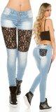 Čipkované džínsy s kamienkami KouCla Modrá