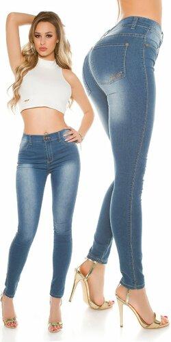 Dámske klasické zvýšené džínsy KouCla