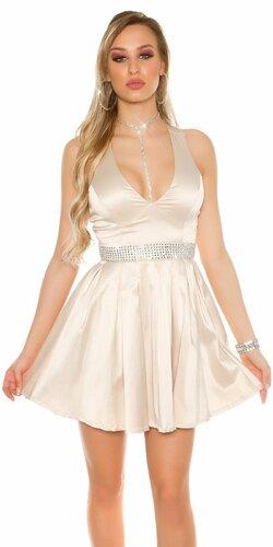 Dámske večerné mini šaty s kamienkovým pásom
