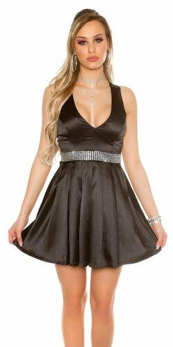 Dámske večerné mini šaty s kamienkovým pásom | Čierna