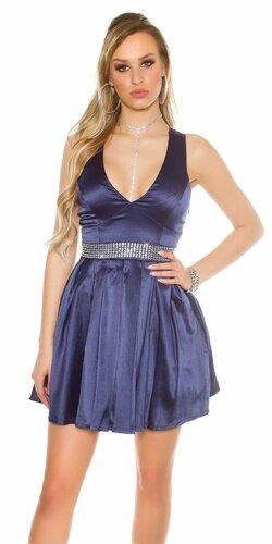 Dámske večerné mini šaty s kamienkovým pásom | Tmavomodrá