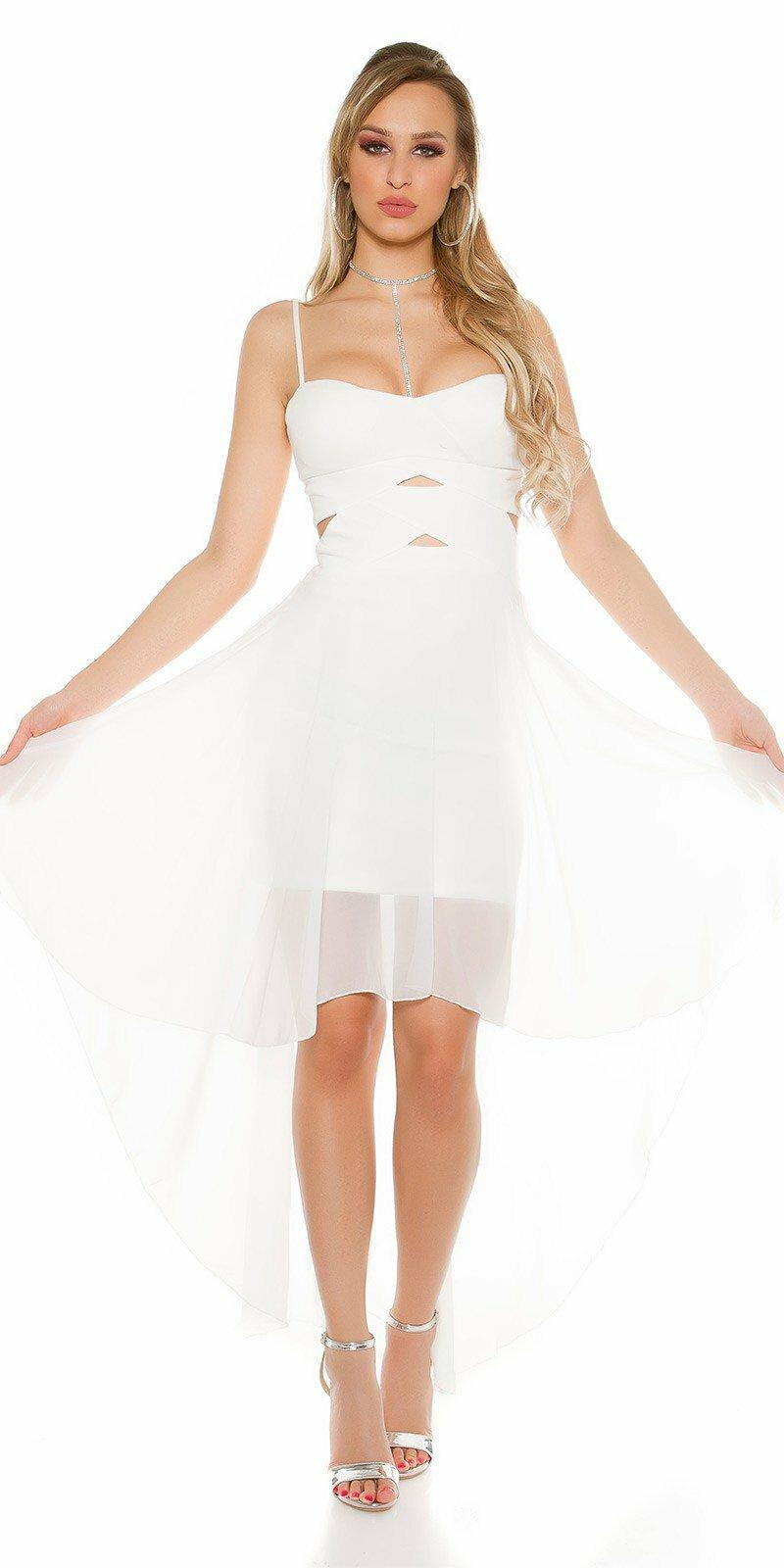ae6b1894914a Dámske mini šaty s vlečkou KouCla  Veľkosť S M Farba Biela