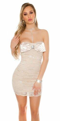 Dámske čipkované mini šaty s mašľou