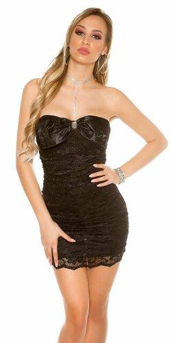 Dámske čipkované mini šaty s mašľou | Čierna