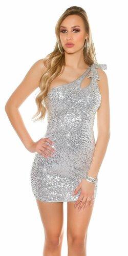 Dámske disco mini šaty (Strieborná)