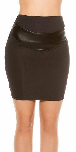 Dámska zvýšená sukňa s aplikáciami koženého vzhľadu | Čierna