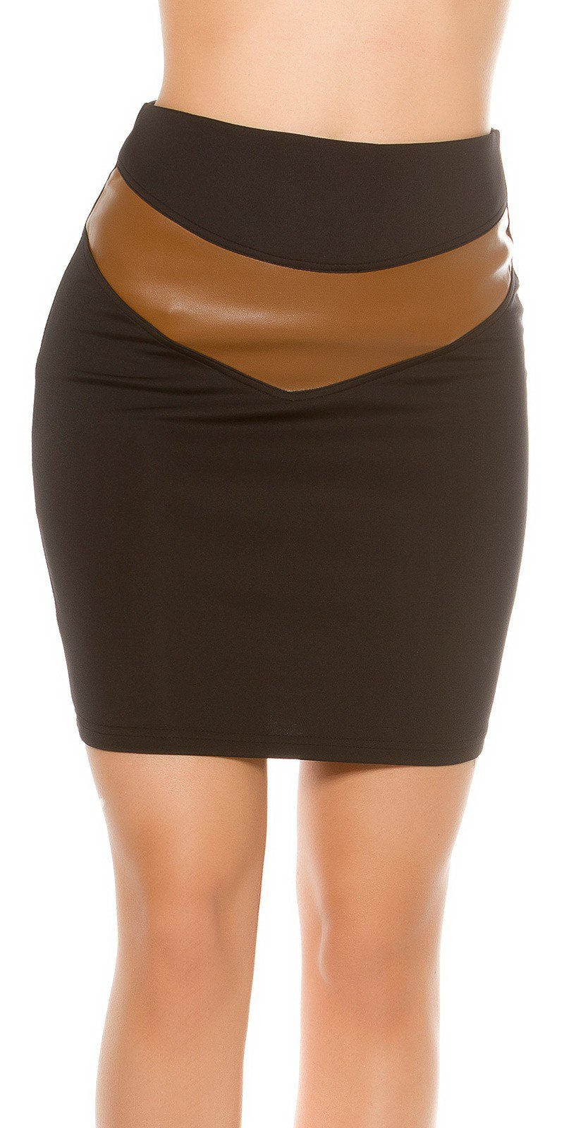 d01b5206270f Dámska zvýšená sukňa s aplikáciami koženého vzhľadu - NajlepsiaModa.sk