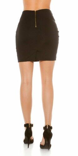 Dámska zvýšená sukňa s aplikáciami koženého vzhľadu Hnedá