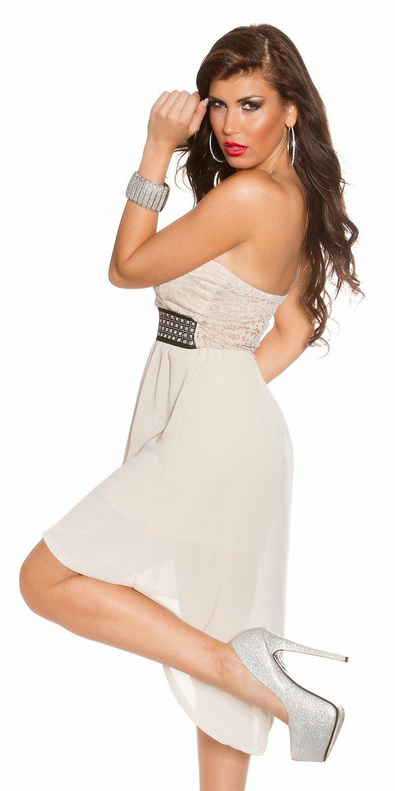 Dámske letné šaty s ozdobným pásom  Veľkosť Univerzálna (XS S M) Farba  Béžová cccc31ebdb7