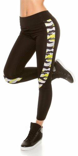 Čierne workout legíny s maskáčovými vzormi (Žltá)