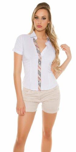 Dámska košeľa s krátkymi rukávmi | Biela