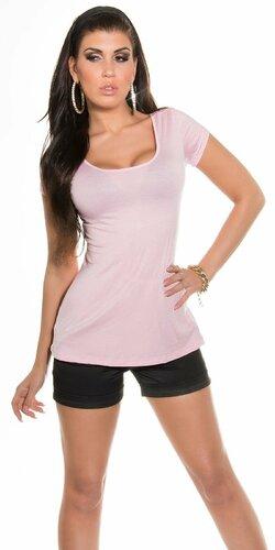 KouCla tričko so sexy zadnou stranou Bledá ružová
