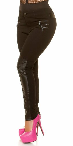 Nohavice pre moletky s aplikáciami koženého vzhľadu | Čierna