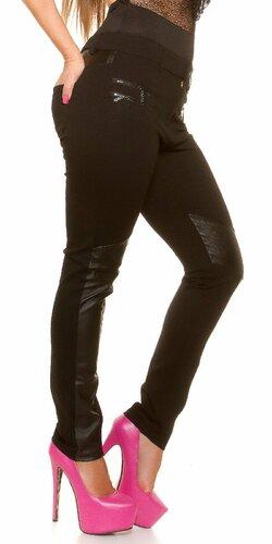 Nohavice pre moletky s aplikáciami koženého vzhľadu Čierna