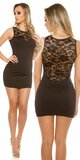 Čipkované mini šaty bez rukávov Čierna