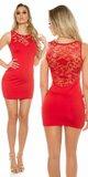 Čipkované mini šaty bez rukávov Červená