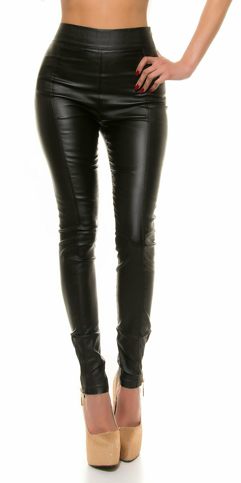 408f05bd6a28 Dámske nohavice koženého vzhľadu s vysokým pásom  Veľkosť L Farba Čierna