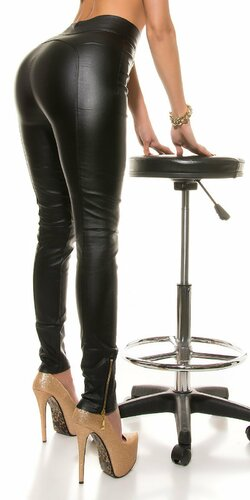 Dámske nohavice koženého vzhľadu s vysokým pásom