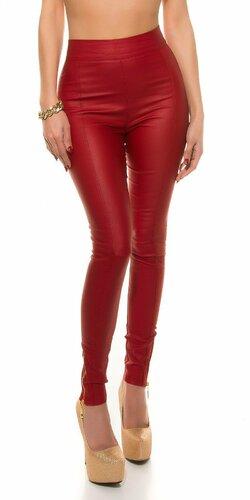 Dámske nohavice koženého vzhľadu s vysokým pásom Červená