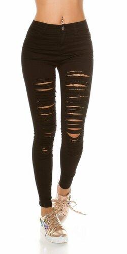 Čierne džínsy s rozparkami