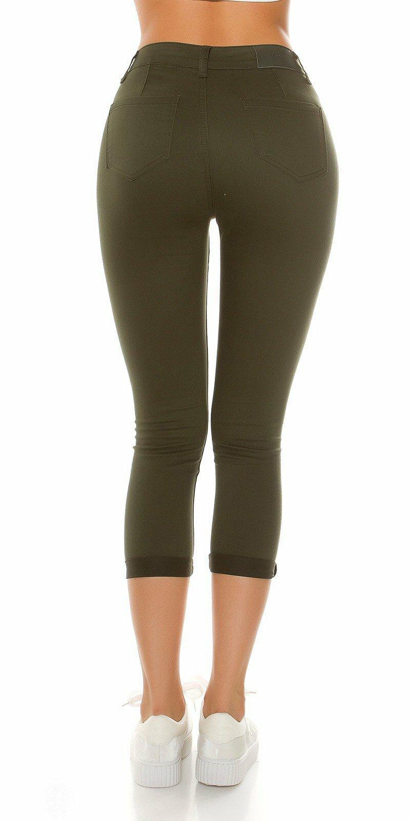 9c3471b14e13 ... Dámske džínsy s vysokým pásom a rozparkami na kolenách Khaki ...