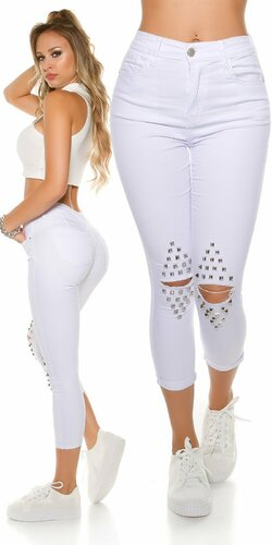 Dámske džínsy s vysokým pásom a rozparkami na kolenách Biela