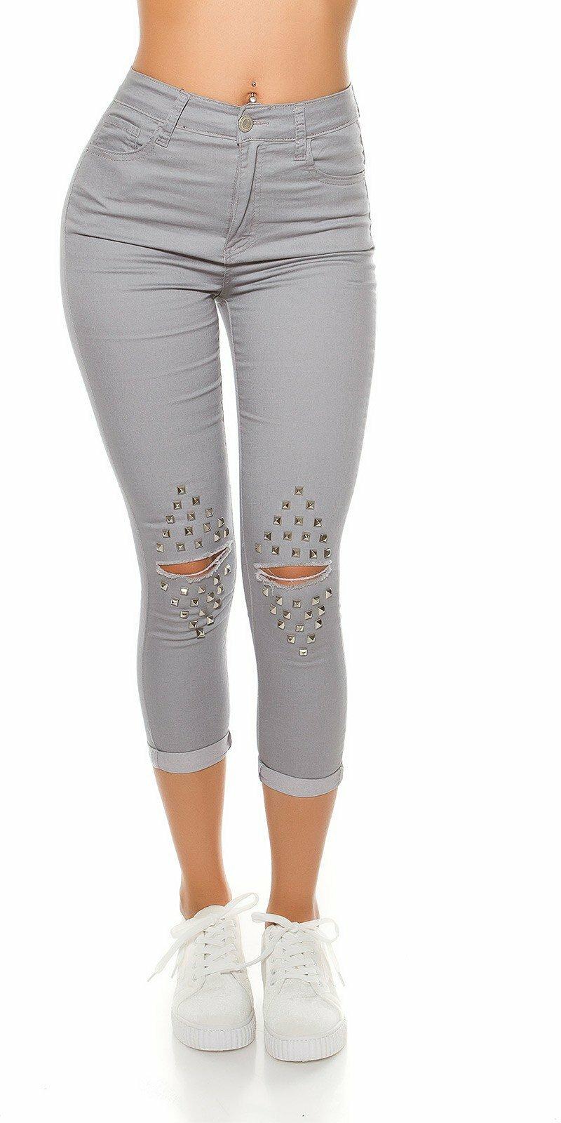 46315cde96e8 Dámske džínsy s vysokým pásom a rozparkami na kolenách ...