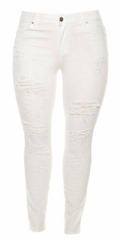 Dámske džínsy pre moletky s rozparkami (Biela)