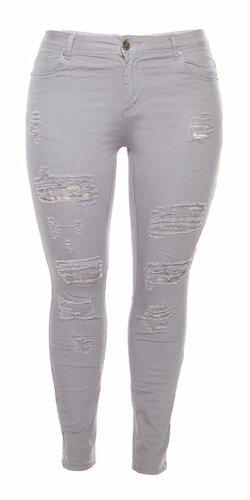 Dámske džínsy pre moletky s rozparkami Šedá