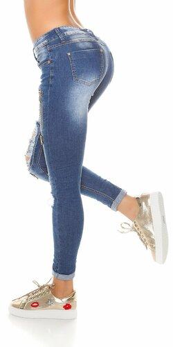 Moderné džínsy zničeného vzhľadu Modrá