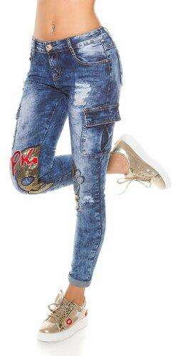 Dámske džínsy s vreckami na bokoch