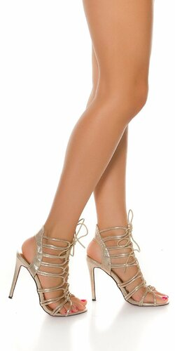 Letné vysoké sandále so šnurovaním Zlatá