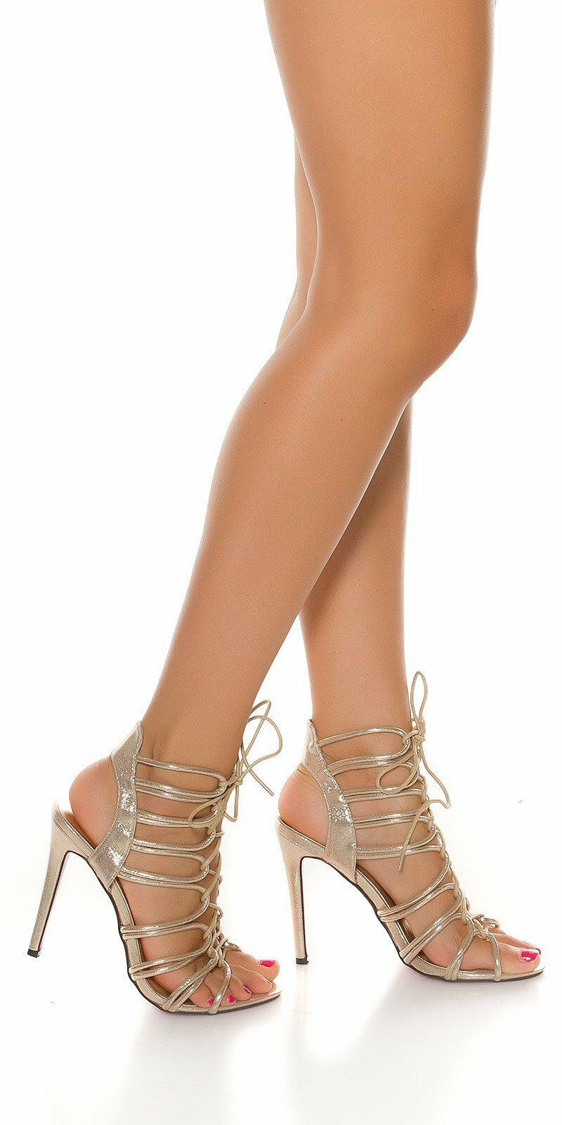 56b32098e052 Letné vysoké sandále so šnurovaním - NajlepsiaModa.sk