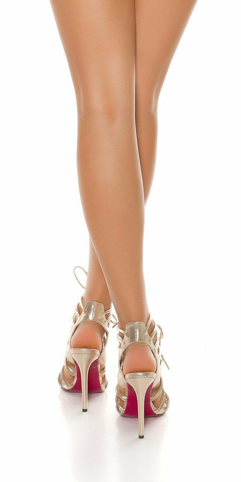 Letné vysoké sandále so šnurovaním