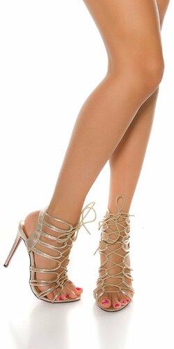 Letné vysoké sandále so šnurovaním | Zlatá