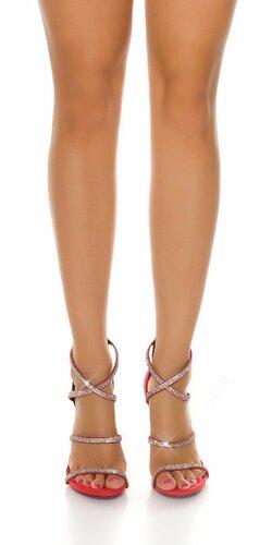 Dámske sandále s kamienkami | Červená