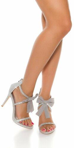 Dámske kamienkové topánky s mašľou Strieborná
