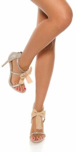 Dámske kamienkové topánky s mašľou | Zlatá