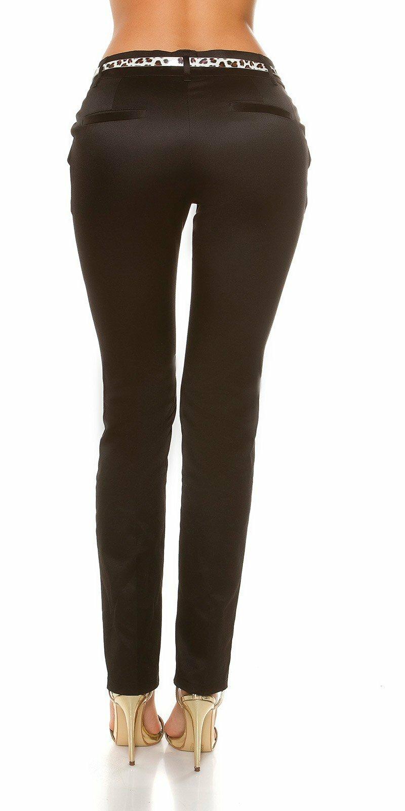 743fbc0083 ... Dámske elegantné nohavice s opaskom v leopardích vzoroch Čierna ...