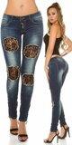 Dámske džínsy s čipkou Tmavomodrá