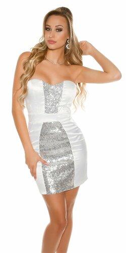 Kokteilové šaty s lesklým pásom