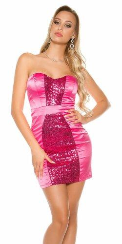 Kokteilové šaty s lesklým pásom Ružová