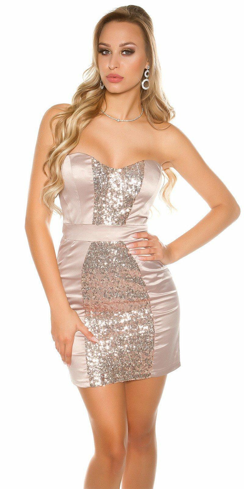 53cbbb5354c5 Kokteilové šaty s lesklým pásom  Veľkosť 8 (XS) Farba Béžová