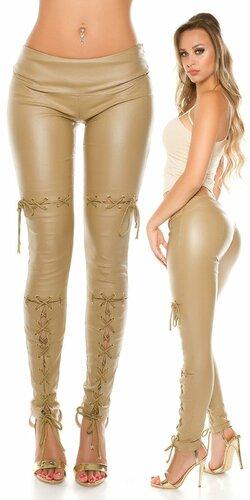 Dámske nohavice koženého vzhľadu so šnurovaním | Béžová