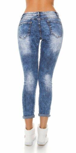 Dámske džínsy s nápismi Modrá