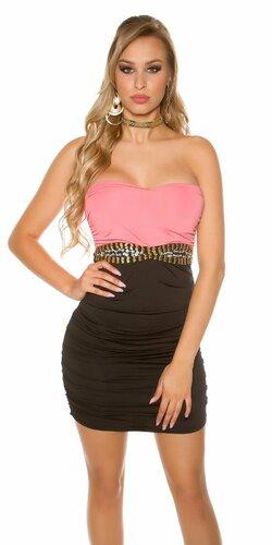Dámske dvojfarebné mini šaty s ozdobným pásom | Koralová