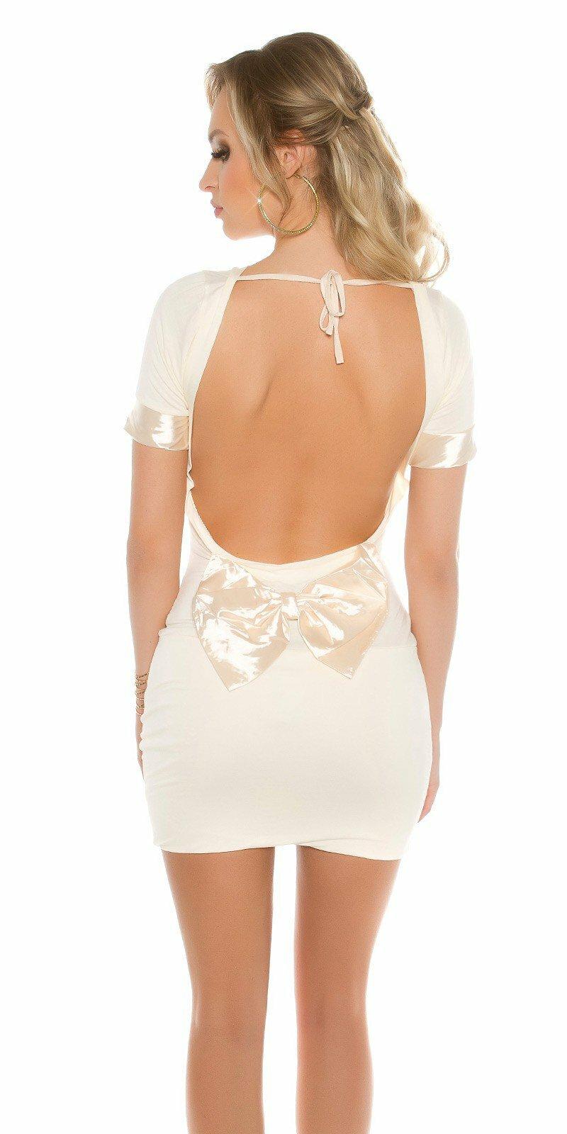 74ac38bb7ce0 Dámske mini šaty s mašľou  Veľkosť Univerzálna (XS S M) Farba Béžová
