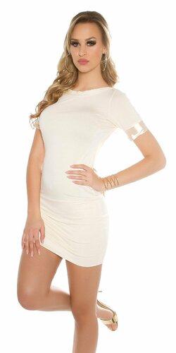 Dámske mini šaty s mašľou Béžová