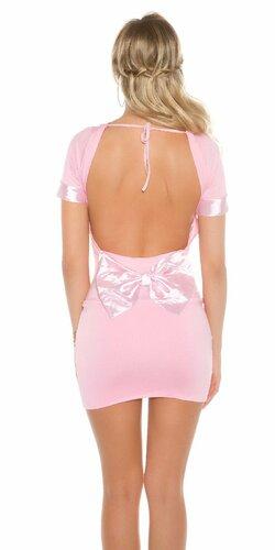Dámske mini šaty s mašľou | Bledá ružová